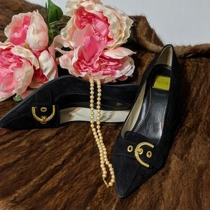 Sarrah Kitten Heels. Black with goldtone hardware